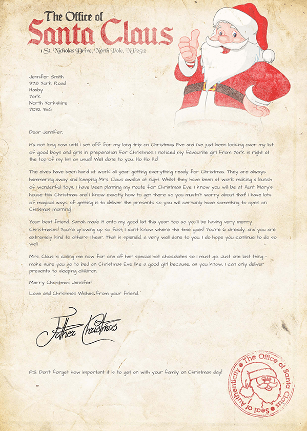 sample letters from santa letters from santa personalized 24646 | letter 2