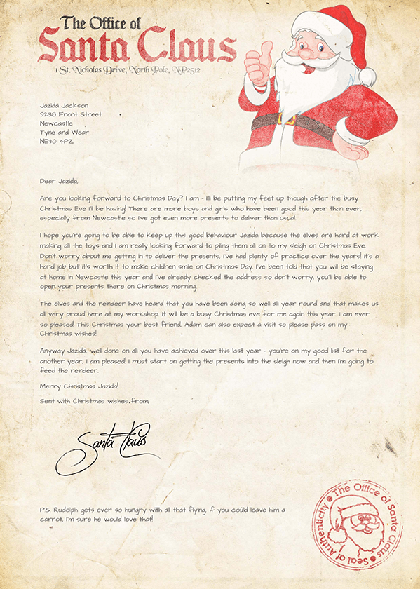 Christmas letters from santa personalized christmas letters from free international delivery spiritdancerdesigns Images